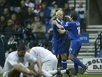 Photo. Aidan Ellis.<br />Bolton Wanderers v Birmingham City.<br /> FA Barclaycard Premiership.<br />25/10/2003.<br />Birmingham's Mikkael Forssell celebrates his goal with David Dunn.