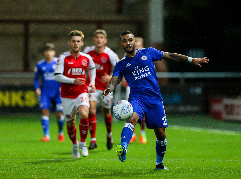 Leicester City U21s' Danny Simpson can't reach a pass<br /> <br /> Photographer Alex Dodd/CameraSport<br /> <br /> The EFL Checkatrade Trophy - Northern Group B - Fleetwood Town v Leicester City U21 - Tuesday September 11th 2018 - Highbury Stadium - Fleetwood<br />  <br /> World Copyright © 2018 CameraSport. All rights reserved. 43 Linden Ave. Countesthorpe. Leicester. England. LE8 5PG - Tel: +44 (0) 116 277 4147 - admin@camerasport.com - www.camerasport.com