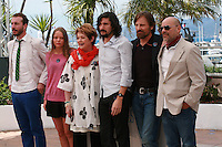 Esteban Bigliardi, Viilbjork Malling Agger, Ghita Norby, director Lisandro Alonso, actor Viggo Mortensen and writer Fabian Casas at the photo call for the film Jauja at the 67th Cannes Film Festival, Sunday 18th May 2014, Cannes, France.