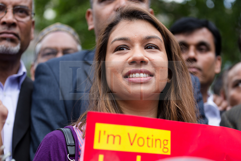 © Licensed to London News Pictures. 06/06/2015. London, UK. Tulip Siddiq at a Labour Party rally for Tower Hamlets Mayoral candidate, John Biggs in Altab Ali Park in Tower Hamlets, east London. The three women Bangladeshi London Labour MPs (Rushanara Ali, Tulip Siddiq and Rupa Huq) attended the rally today with Labour Party supporters. Photo credit : Vickie Flores/LNP