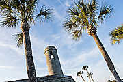 Belltower of Castillo de San Marcos in St. Augustine, Florida. St Augustine is the oldest city in America.