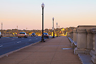 View from the Washington side of the Arlington Memorial Bridge during morning rush hour, toward Virginia, the Robert E. Lee Memorial and Arlington National Cemetary. WATERMARKS WILL NOT APPEAR ON PRINTS OR LICENSED IMAGES.
