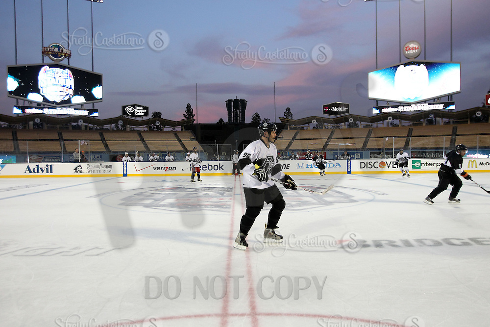 27 January 2014:  Battle at The Ballpark. Pickup Ice Hockey game at Dodger Stadium in Los Angeles.  Personal Use Only. ©ShellyCastellano