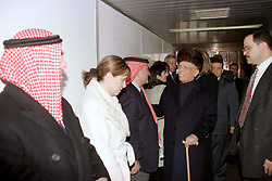 King Hussein of Jordan (center) as he leaves back to the USA, at Amman airport, Jordan on January 26, 1999. Twenty years ago, end of January and early February 1999, the Kingdom of Jordan witnessed a change of power as the late King Hussein came back from the United States of America to change his Crown Prince, only two weeks before he passed away. Photo by Balkis Press/ABACAPRESS.COM