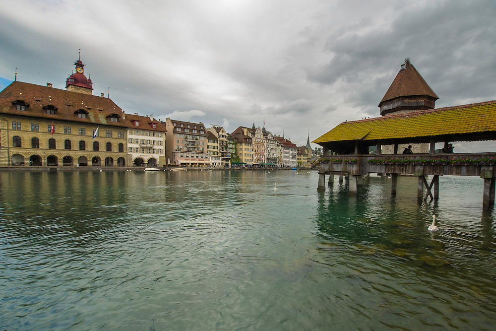Lucerne is located in central Switzerland. One of the city's famous landmarks is the Chapel Bridge (Kapellbrücke), a wooden bridge first erected in the 14th century.