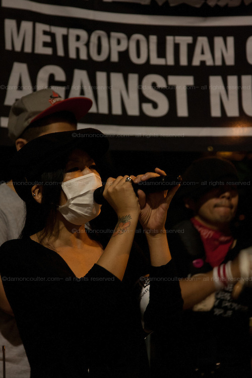 Anti Nuclear protestor, Misao Redwolf speaks at the Friday night protests around the parliament building in Nagatacho, Tokyo, Japan Friday October 12th 2012