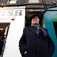 Actor John Cairney who recently returned home to live in Scotland after over 20 years in exile in New Zealand.  He has been described as the living embodiment of burns, playing him many times both on stage and on television.  Pictured outside James Court the original location of the Traverse Theatre on Edinburgh's Royal Mile where John first performed on stage.