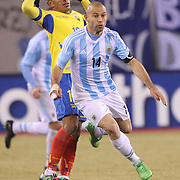 Javier Mascherano, Argentina, in action during the Argentina Vs Ecuador International friendly football match at MetLife Stadium, New Jersey. USA. 31st march 2015. Photo Tim Clayton