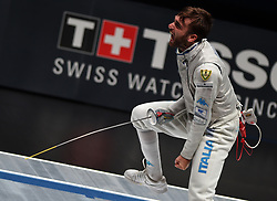 WUXI, July 27, 2018  Daniele Garozzo of Italy celebrates after winning the men's foil team final between Italy and the United States at the Fencing World Championships in Wuxi, east China's Jiangsu Province, July 27, 2018. Italy beat US 45-34 and claimed the title of the event. (Credit Image: © Han Yuqing/Xinhua via ZUMA Wire)