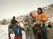 Anthropologue Ted Callahan leaving on horse back, from the second Sary Tash camp.