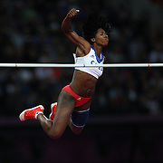 Yarisley Silva, Cuba, winning the Silver Medal in the Women's Pole Vault Final at the Olympic Stadium, Olympic Park, during the London 2012 Olympic games. London, UK. 4th August 2012. Photo Tim Clayton