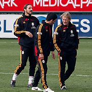 Galatasaray's co trainer Tugay KERIMOGLU (R) and Arda TURAN (C), goalkeeper Aykut ERCETIN (L) during their training session at the Jupp Derwall training center, Thursday, January 13, 2010. Photo by TURKPIX
