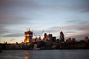 Construction of controversial new buildings in the City of London alters the skyline, UK.