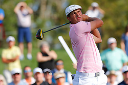 March 14, 2019 - Ponte Vedra Beach, FL, U.S. - PONTE VEDRA BEACH, FL - MARCH 14: Bryson DeChambeau of the United States hots a tee shot on the 16th hole during the first round of THE PLAYERS Championship on March 14, 2019 on the Stadium Course at TPC Sawgrass in Ponte Vedra Beach, Fl. (Photo by David Rosenblum/Icon Sportswire) (Credit Image: © David Rosenblum/Icon SMI via ZUMA Press)