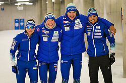 From left side: Eva Urevc, Anamarija Lampic, Janez Lampic, Miha Simenc during the training before start of olympic season 2021/2022, on 09.06.2021 in Nordic ski center Planica, Slovenia. Photo by Urban Meglič / Sportida