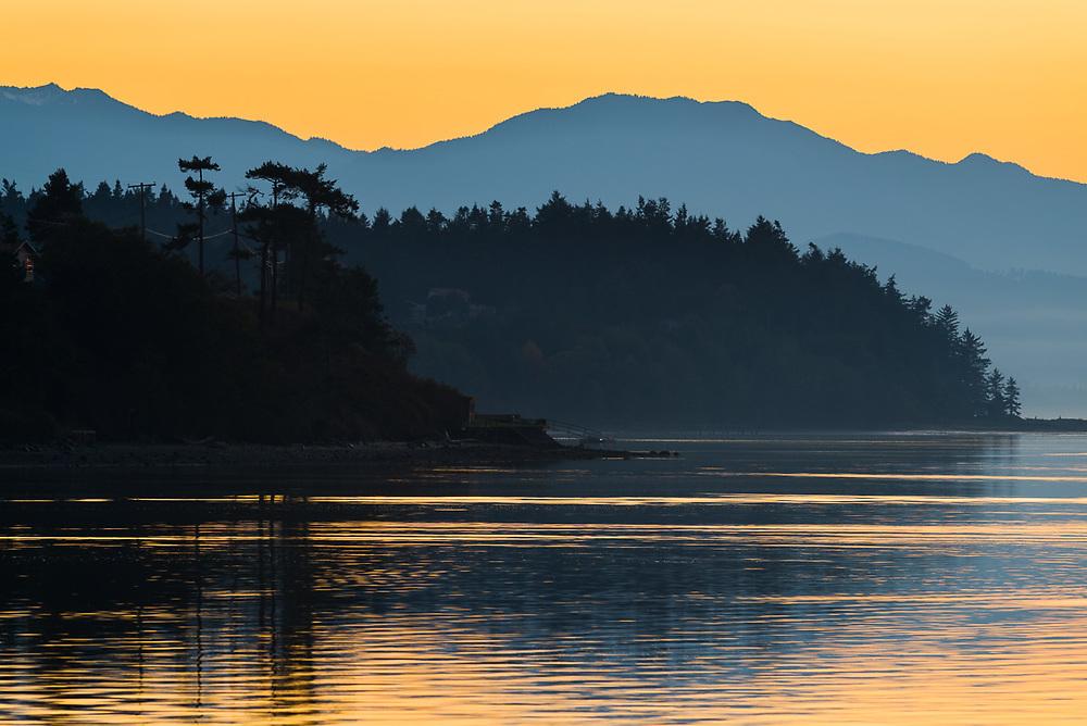 Dungeness Bay, sunset, October, Strait of Juan de Fuca, Salish Sea, Olympic Peninsula, WA, USA