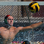 Golden West College goalkeeper Sid Dymond (1) reaches out to block a shot during the Orange Empire Conference semi-final playoff game between the Saddleback College Gauchos and the Golden West College Rustlers at Saddleback College in Mission Viejo on November 4, 2016.<br /> <br /> Photo by Darren Yamashita / Sports Shooter Academy
