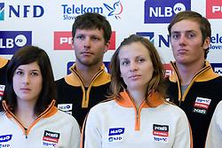 Tina Robnik, Andrej Jerman, Vanja Brodnika and Rok Perko of Slovenian Alpine Ski Team before new season 2008/2009, on Septembra 25, 2008, Ljubljana, Slovenia. (Photo by Vid Ponikvar / Sportal Images)