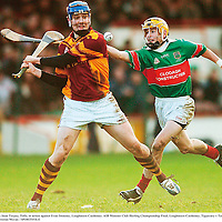 2 December 2007; Sean Torpey, Tulla, in action against Evan Sweeney, Loughmore Castleiney. AIB Munster Club Hurling Championship Final, Loughmore-Castleiney, Tipperary v Tulla, Clare, Gaelic Grounds, Limerick. Picture credit; Brendan Moran / SPORTSFILE