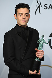 Rami Malek poses in the press room during the 25th Annual Screen Actors Guild Awards at The Shrine Auditorium on January 27, 2019 in Los Angeles, CA, USA. ©Lionel Hahn/ABACAPRESS.COM