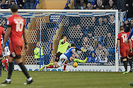 Portsmouth Forward, Conor Chaplin (19) heads home to make it 2-1 goal during the EFL Sky Bet League 2 match between Portsmouth and Leyton Orient at Fratton Park, Portsmouth, England on 14 January 2017. Photo by Adam Rivers.
