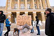 "02 JANUARY 2021 - DES MOINES, IOWA: Supporters of President Donald Trump in front of the Iowa State Capitol. About 30 people marched around the Iowa State Capitol Saturday afternoon to protest the outcome of the November 3 general election in the United States. They are a part of the ""Stop the Steal"" movement which maintains that the election was stolen from Donald Trump by massive voter fraud. There is no evidence supporting their conspiracy theory. This is the 9th week Donald Trump supporters have marched around the Capitol. They've been there every week since the Nov. 3 election. More than 1,000 people showed up the first week, but the crowd has gotten smaller every week.   PHOTO BY JACK KURTZ"