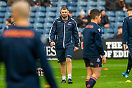 Edinburgh Rugby assistant forwards coach, Steven Lawrie  watches the team during the warm up before the 1872 Cup second leg Guinness Pro14 2019_20 match between Edinburgh Rugby and Glasgow Warriors at BT Murrayfield Stadium, Edinburgh, Scotland on 28 December 2019.