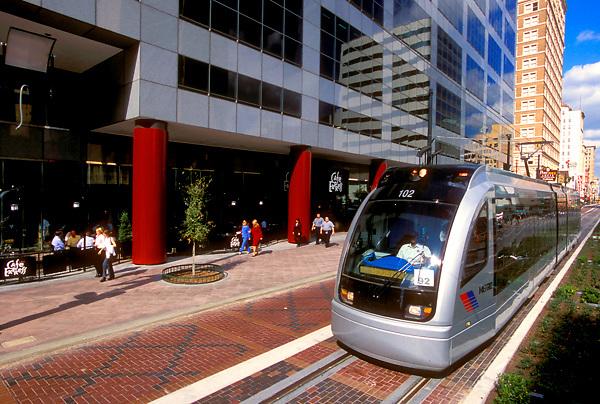 Downtown Houston metro light rail train