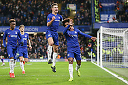 GOAL - Chelsea Midfielder Willian celebrates and protects himself from missiles and objects aft his penalty with Chelsea Defender Cesar Azpilicueta during the The FA Cup fourth round match between Chelsea and Sheffield Wednesday at Stamford Bridge, London, England on 27 January 2019.