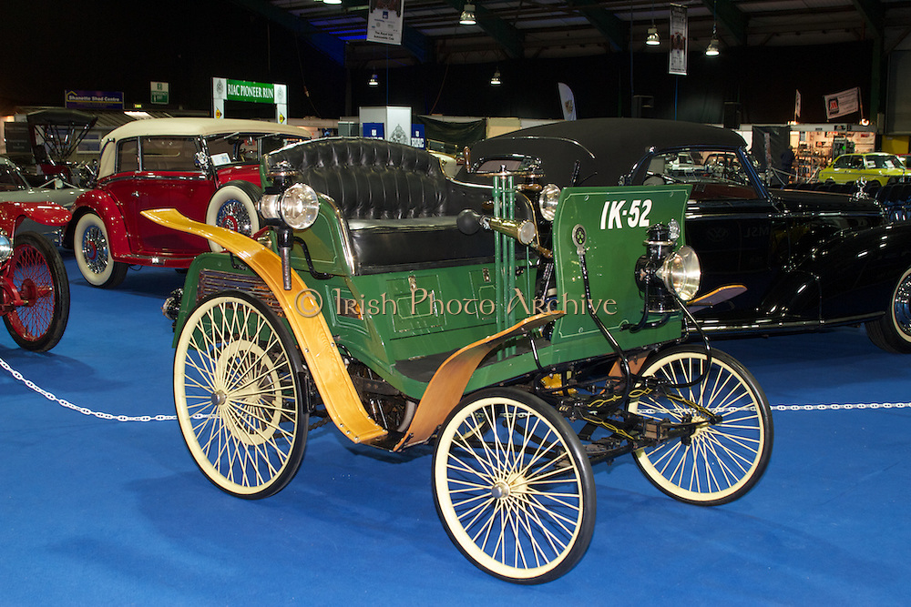 RIAC Classic Car Show 2013, RDS, 1898 Benz Velo (Ireland's oldest car). The Benz Velo was the world's first volume produced car and deliveries went out around the world. Irish, Photo, Archive.
