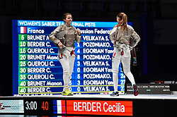 WUXI, July 27, 2018  Cecilia Berder (L) of France reacts during the women's sabre team final between France and Russia at the Fencing World Championships in Wuxi, east China's Jiangsu Province, July 27, 2018. France beat Russia 45-35 and claimed the title of the event. (Credit Image: © Li Bo/Xinhua via ZUMA Wire)
