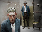 """Vintage Mugshots in colour<br /> <br /> Mug shot of Walter Smith, 15 December 1924, location unknown.<br /> <br /> Special Photograph no. 1357. Walter Smith is listed in the NSW Police Gazette, 24 December 1924, as 'charged with breaking and entering the dwelling-house of Edward Mulligan and stealing blinds &c value 20 pounds (part recovered)', and with 'stealing clothing, value 26 pounds (recovered) in the dwelling house of Ernest Leslie Mortimer.' Sentenced to 6 months hard labour. This picture is one of a series of around 2500 """"special photographs"""" taken by New South Wales Police Department photographers between 1910 and 1930. These """"special photographs"""" were mostly taken in the cells at the Central Police Station, Sydney and are, as curator Peter Doyle explains, of """"men and women recently plucked from the street, often still animated by the dramas surrounding their apprehension"""". Doyle suggests that, compared with the subjects of prison mug shots, """"the subjects of the Special Photographs seem to have been allowed - perhaps invited - to position and compose themselves for the camera as they liked. Their photographic identity thus seems constructed out of a potent alchemy of inborn disposition, personal history, learned habits and idiosyncrasies, chosen personal style (haircut, clothing, accessories) and physical characteristics."""" <br /> ©Frédéric DurIiez/Exclusivepix Media"""