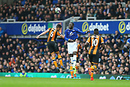 Romelu Lukaku of Everton heads the ball clear. Premier league match, Everton v Hull city at Goodison Park in Liverpool, Merseyside on Saturday 18th March 2017.<br /> pic by Chris Stading, Andrew Orchard sports photography.