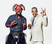 Matt Servitto as Satan and Dion Flynn as President Barack Obama on the set of Your Pretty Face is Going to Hell