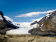 View of Athabasca Glacer along the Icefields Parkway, Jasper National Park, Alberta, Canada, on a beautiful day.