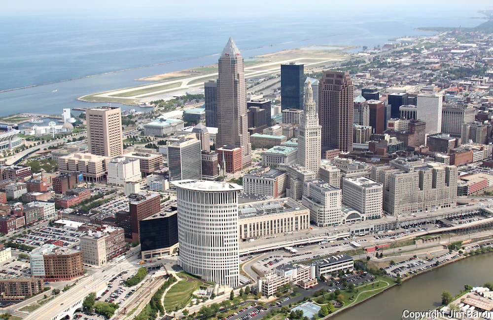 Aerial skyline view of Cleveland, Ohio