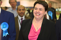 SCOTTISH PARLIAMENTARY ELECTION 2016 – Ruth Davison Scottish Conservative and Unionist Party arrives at theRoyal Highland Centre, Edinburgh with her partner Jen Wilson <br />