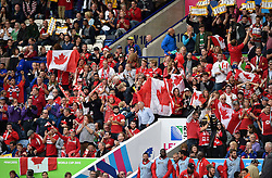 Canada supporters in the crowd celebrate - Mandatory byline: Patrick Khachfe/JMP - 07966 386802 - 06/10/2015 - RUGBY UNION - Leicester City Stadium - Leicester, England - Canada v Romania - Rugby World Cup 2015 Pool D.