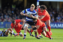 Dominic Day of Bath Rugby goes on the attack - Photo mandatory by-line: Patrick Khachfe/JMP - Mobile: 07966 386802 25/10/2014 - SPORT - RUGBY UNION - Bath - The Recreation Ground - Bath Rugby v Toulouse - European Rugby Champions Cup