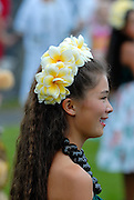 Child performer at the free monthly concert of traditional Hawaiian music and dance at the Hulihe'e Palace, in honour of Hawaiian royalty. Kailua-Kona, Big Island, Hawaii RIGHTS MANAGED LICENSE AVAILABLE FROM www.PhotoLibrary.com