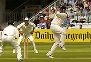 Lord's London, 1st NPower Test   England v New Zealand.  New Zealand skipper,  Stephen Fleming hooks the ball 20/05/2004 <br /> [Credit Peter Spurrier Intersport Images}