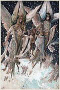 Soul of the penitent thief carried into Paradise by angels with burning censers. Luke 23. Illustration by JJ Tissot for his 'Life of Our Saviour Jesus Christ' 1897. Oleograph.