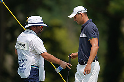 August 12, 2018 - St. Louis, Missouri, United States - Martin Kaymer (R) and his caddie Craig Connelly walk off the 9th green during the final round of the 100th PGA Championship at Bellerive Country Club. (Credit Image: © Debby Wong via ZUMA Wire)