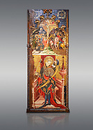 Gothic altarpiece depicting top, Calvary, bottom, St Sebastia (Sebastian) , by Joan Mates of Villafranca de Penedes, circa 1417-1425, from the refrectory of Pia Almoina, Barcelona, Temperal and gold leaf on wood.  National Museum of Catalan Art, Barcelona, Spain, inv no: MNAC  32340. Joan Mates was a Spanish painter of the International Gothic style. .<br /> <br /> If you prefer you can also buy from our ALAMY PHOTO LIBRARY  Collection visit : https://www.alamy.com/portfolio/paul-williams-funkystock/gothic-art-antiquities.html  Type -     MANAC    - into the LOWER SEARCH WITHIN GALLERY box. Refine search by adding background colour, place, museum etc<br /> <br /> Visit our MEDIEVAL GOTHIC ART PHOTO COLLECTIONS for more   photos  to download or buy as prints https://funkystock.photoshelter.com/gallery-collection/Medieval-Gothic-Art-Antiquities-Historic-Sites-Pictures-Images-of/C0000gZ8POl_DCqE