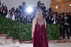 Priyanka Chopra walking the red carpet at The Metropolitan Museum of Art Costume Institute Benefit celebrating the opening of Heavenly Bodies : Fashion and the Catholic Imagination held at The Metropolitan Museum of Art  in New York, NY, on May 7, 2018. (Photo by Anthony Behar/Sipa USA)