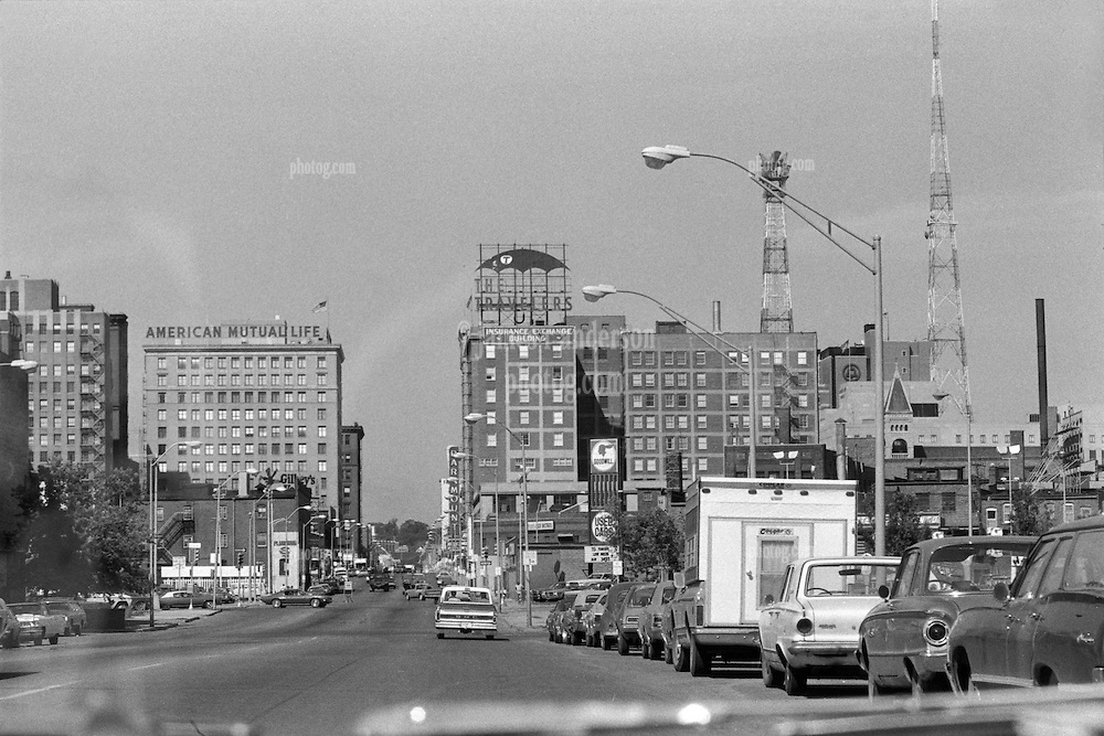 Des Moines Iowa, Grand Avenue. Heading west on Grand Avenue in the Summer of 1973. Downtown View, shot through the car window on Tri-X B&W film.