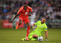 18 July 2019; Karamoko Daouda Bamba of SK Brann in action against Alan Mannus of Shamrock Rovers during the UEFA Europa League First Qualifying Round 2nd Leg match between Shamrock Rovers and SK Brann at Tallaght Stadium in Dublin. Photo by Eóin Noonan/Sportsfile