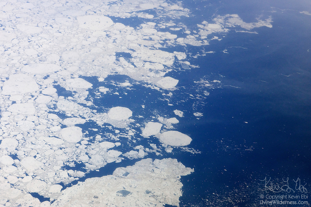 The winter sea ice on James Bay in Canada begins to break up in late spring. James Bay is located at the southern end of the Hudson Bay in northern Canada. Both bodies of water extend from the Arctic Ocean.