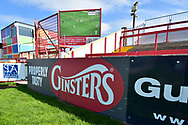 Ginsters advertising during the EFL Sky Bet League 1 match between Accrington Stanley and Scunthorpe United at the Fraser Eagle Stadium, Accrington, England on 1 September 2018.
