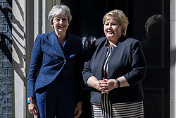 © Licensed to London News Pictures. 06/06/2018. London, UK. Prime Minister Theresa May (L) meets Prime Minister of Norway Erna Solberg (R) on Downing Street. Photo credit: Rob Pinney/LNP